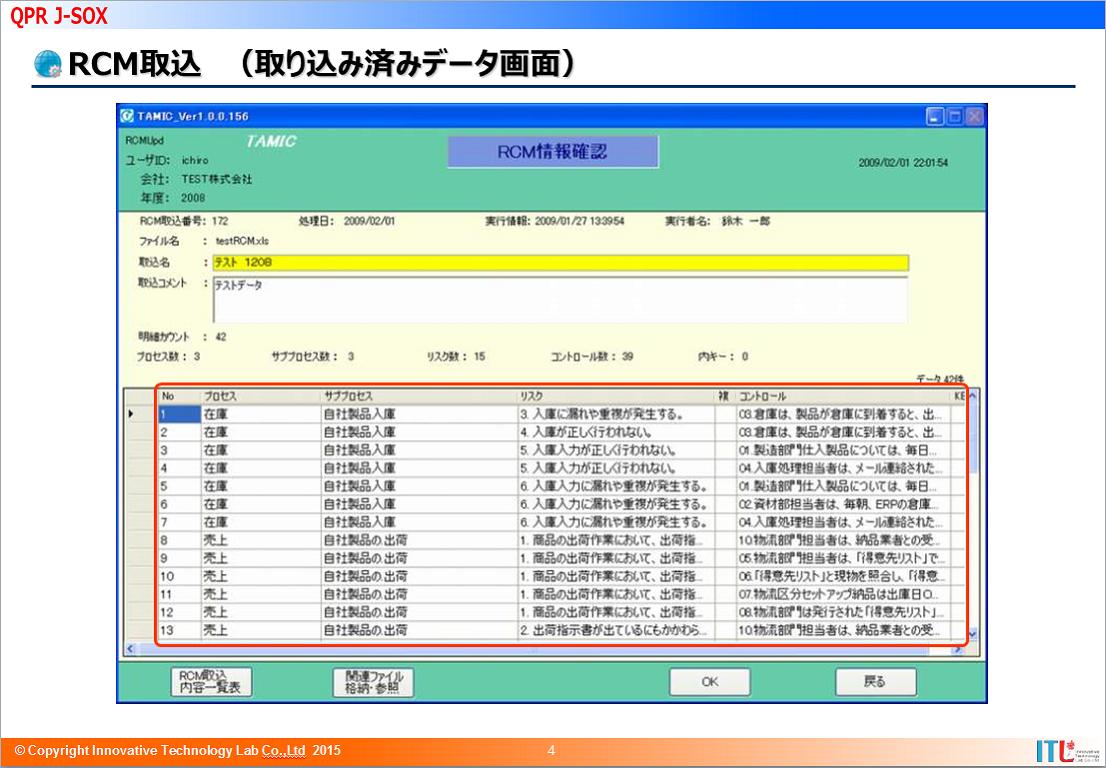 RCM取込(取り込み済み画面)
